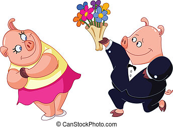 Loving pigs - Loving pig giving his girlfriend bouquet of ...