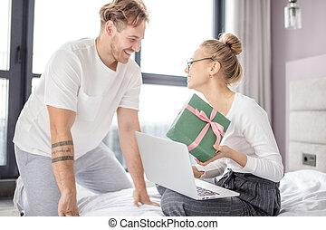 loving positive couple celebrating Valentine day