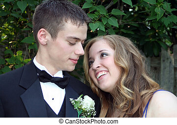 Loving Prom Couple - Horizontal outdoor portrait of a loving...