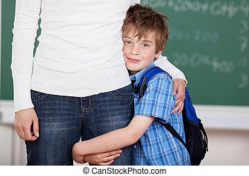Loving schoolchild