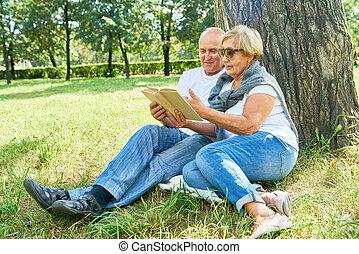 Loving Senior Couple at Park