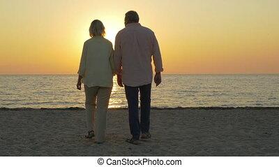 Loving senior couple enjoying sunset over sea