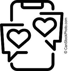Loving smartphone chat icon, outline style