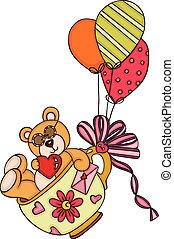 Loving teddy bear in cup flying with balloons