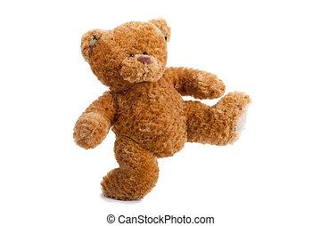 loving teddy bear isolated on white background