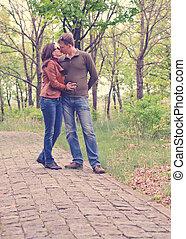 Loving young couple enjoy s romantic kiss