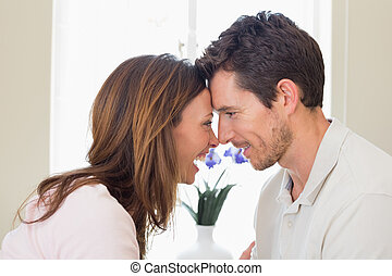 Loving young couple looking at each other