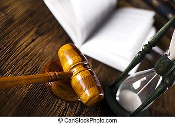 lovlig, gavel, på, en, juridisk bog