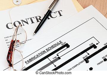 lovlig kontraher, lov, papirer, hos, fabrication, køreplanen