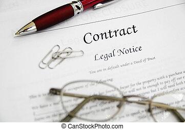 lovlig kontraher, papirer, hos, pen og, glas