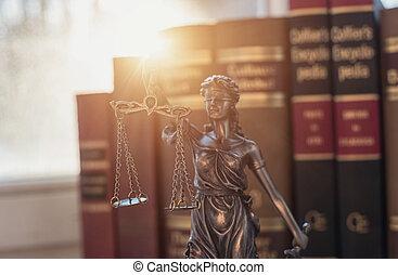 lovlig, lov, begreb, image, statue, i, retfærdighed