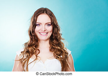 Lovly girl long curly hair portrait