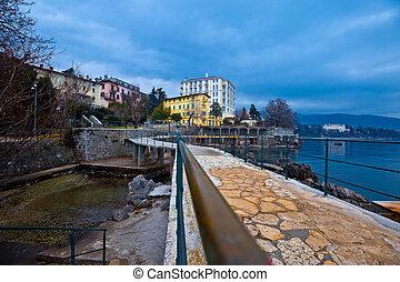 Lovran Lungomare sea walkway view, Kvarner bay of Croatia