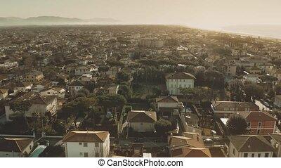Low altitude aerial view of Forte dei Marmi. Tuscany, Italy