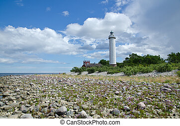 Low angle image of white lighthouse