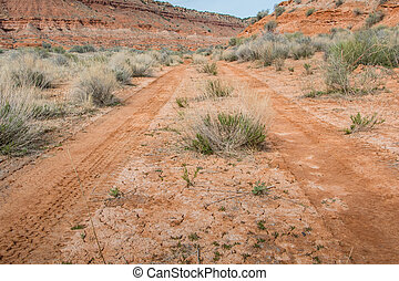 Low Angle of Desert Road through dry wash area