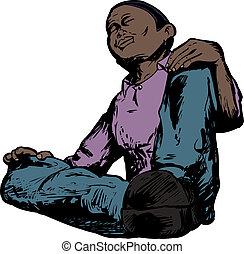 Low Angle of Meditating Man - Low angle view of African male...