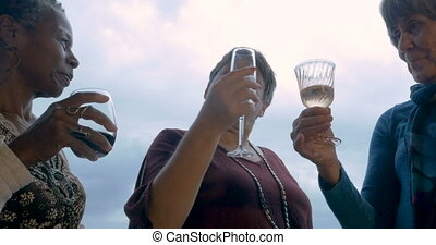 Low angle of three mature women travelers over 60 celebrating with drinks
