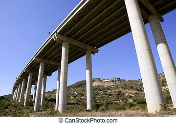 Low angle perspective view of a motorway road bridge