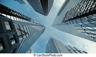 Low angle shot from ground to sky of city skyscrapers with...