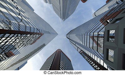 Low angle shot from ground to sky of city skyscrapers