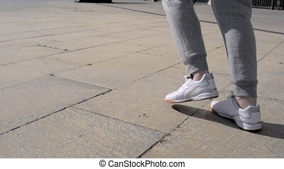Low angle shot of a sporty man running