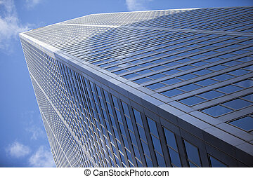 low angle shot of a tall commercial building