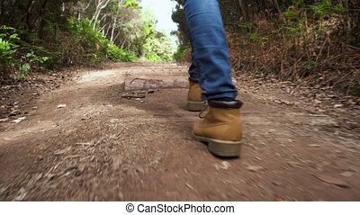 Low angle view following a hiker walking in the woods. - Low...