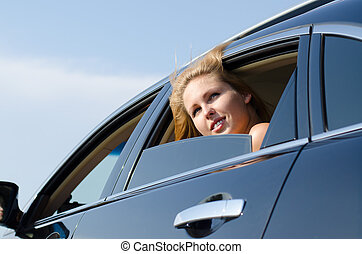 Low angle view of a car passenger