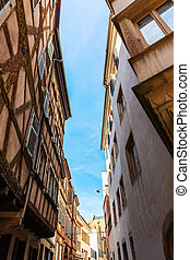 road in the old town of Strasbourg, France