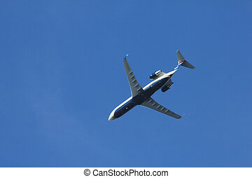 Low angle view of a small airliner