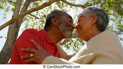 Low angle view of active African American senior couple looking face to face at each other. They are smiling 4k