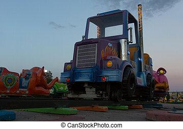 Amusement Park Ride at Dusk