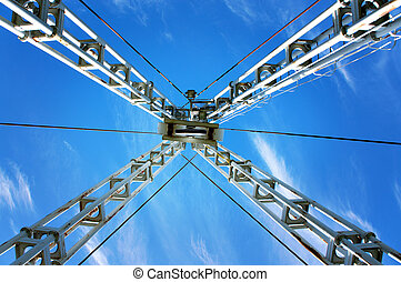crane - Low angle view of crane on blue sky