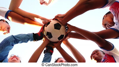 Low angle view of diverse female soccer team 4k - Low angle ...