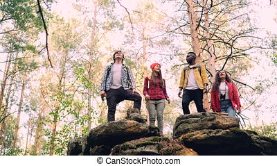 Low angle view of happy young people climbing up mountain raising hands and shouting celebrating success, men are doing high-five. Nature and emotions concept.