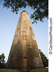 Low angle view of lighthouse. - Lighthouse on Bald Head...
