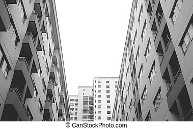 Low Angle View of Modern Architecture in Monochrome