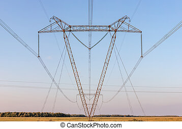 Low angle view of power lines. Panoramic shot.