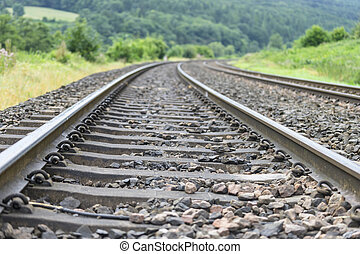 Low angle view of railway track.