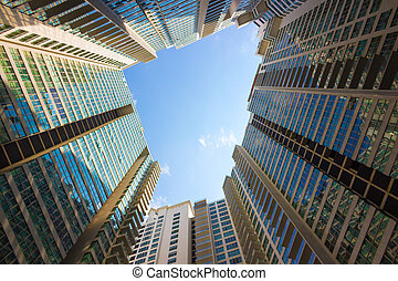 low angle view of skyscrapers in city of China