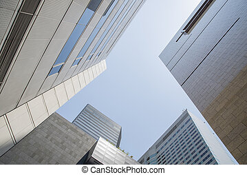 low angle view of skyscrapers in Seoul