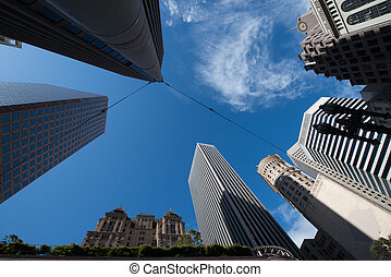 Low angle view of skyscrapers, San Francisco