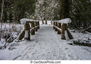 Low Angle View of Snow Covered Bridge