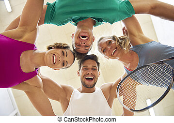 Low angle view of squash players