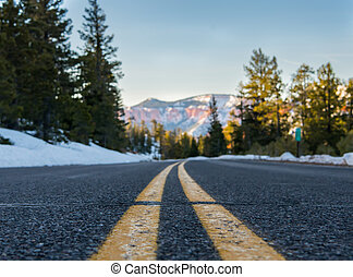 Low Angle View of Stripe on Snowy Mountain Road