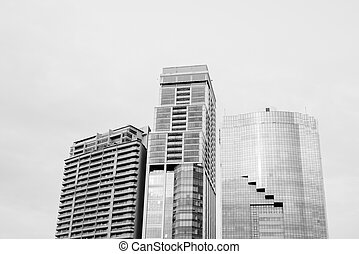Low Angle View Of Tall Corporate Building