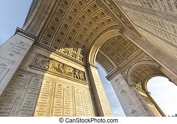 low angle view of the famous arc de triomphe in paris