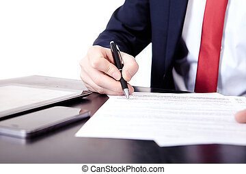 Low angle view of the fingers of a man writing on a document with a fountain pen conceptual of communication, correspondence, business agreement, legal contract or creativity