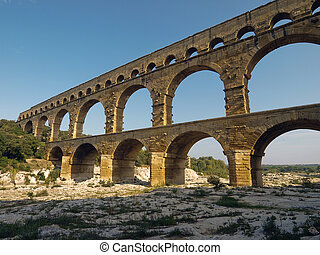 Pont du Gard - low angle view of the Pont du Gard in France